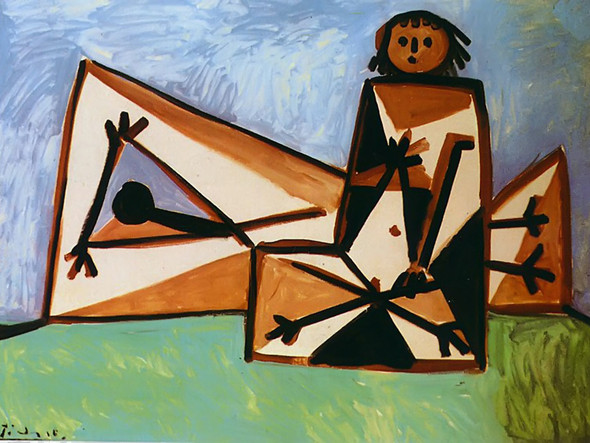 Man And Woman On The Beach 89x116 by Picasso Print