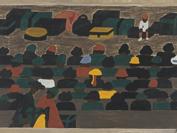 Migration Panel 32 The Railroad Stations In The South Were Crowded With People Leaving For The North by Jacob Lawrence Print