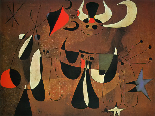 Painting( Figures In The Night) 1950 by Joan Miro Print