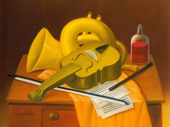 Still Life With Musical Instruments by Botero Print