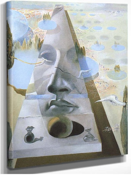 Apparition Of The Visage Of Aphrodite Of Cnidos In A Landscape By Salvador Dali