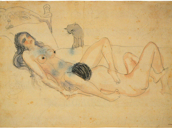 Two Figures And A Cat By by Pablo Picasso Print