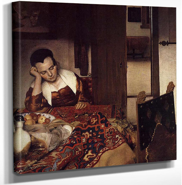 A Woman Asleep At Table By Vermeer Johannes Art Reproduction from Wanford.