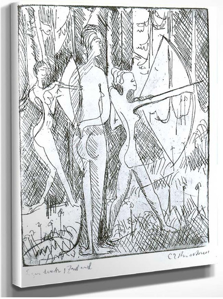 Arching Girls In The Wood By Ernst Ludwig Kirchner