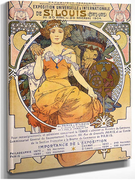 Art Nouveau Color Lithograph Poster Showing A Seated Woman Clasping The Hand Of A Native 1903 By Alphonse Mucha