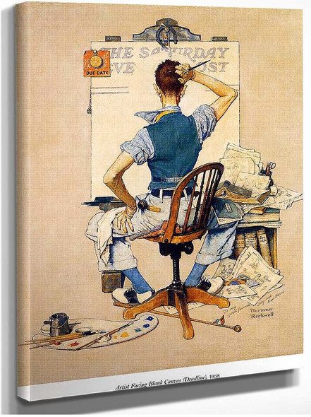 Artist Facing Blank Canvas By Norman Rockwell