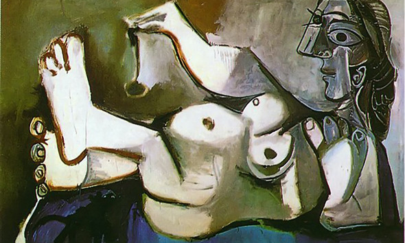 Lying Female Nude Playing With Cat1 by Picasso Print
