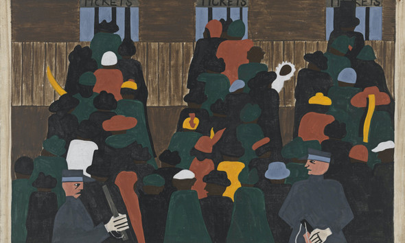 Migration Panel 12 The Railroad Stations Were At Times So Over Packed With People Leaving That Special Guards Had To Be Called In To Keep Order by Jacob Lawrence Print