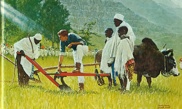 The Peace Corps In Ethiopia by Norman Rockwell Print