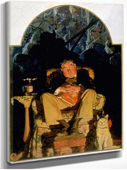 Asleep With Book By Norman Rockwell