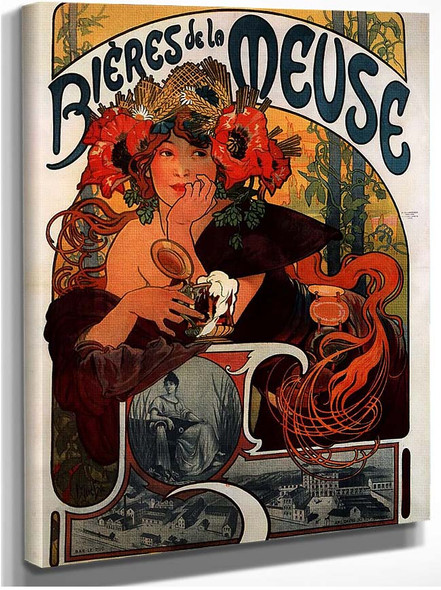 Beer Of The Meuse 1897 By Alphonse Mucha