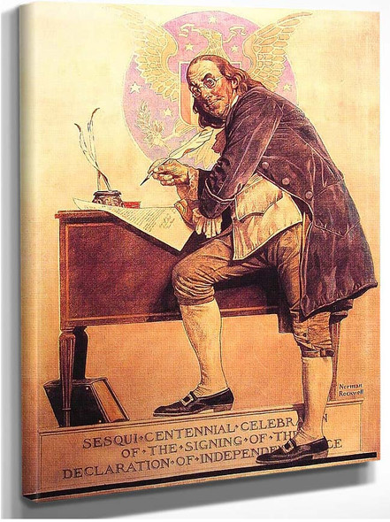Ben Franklin0S Sesquicentennial By Norman Rockwell