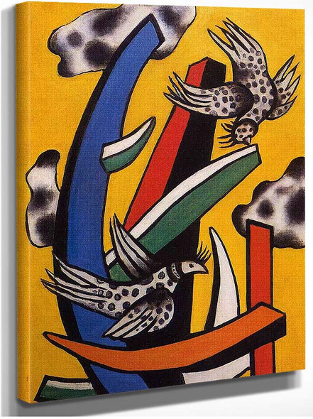 Birds On A Yellow Background 1 By Fernand Leger