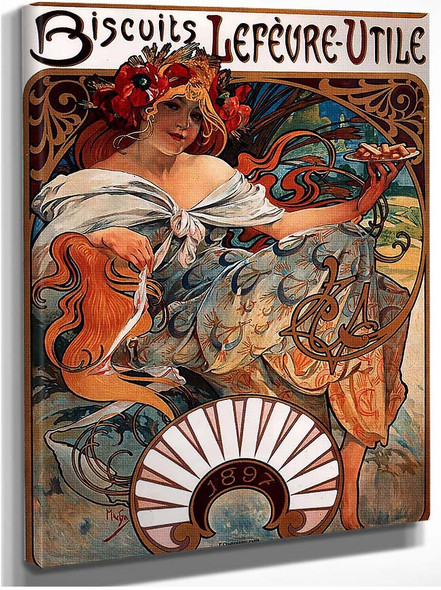 Biscuits Lefevre Utile 1896 By Alphonse Mucha