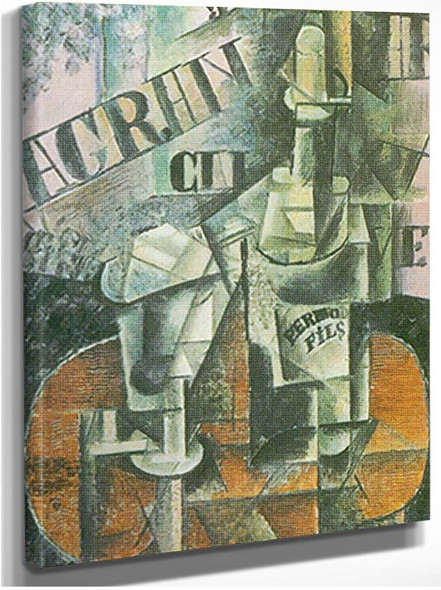 Bottle Of Pernod And Glass By Pablo Picasso