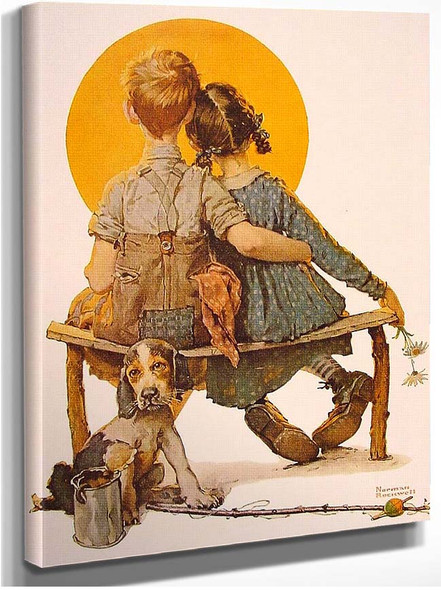 Boy And Girl Gazing At The Moon 1926 By Norman Rockwell