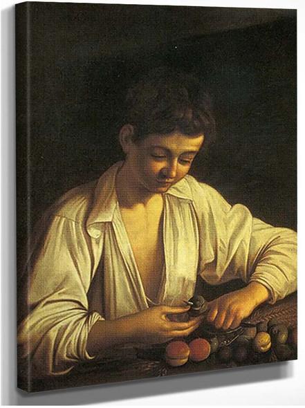 Boy Peeling A Fruit By Caravaggio