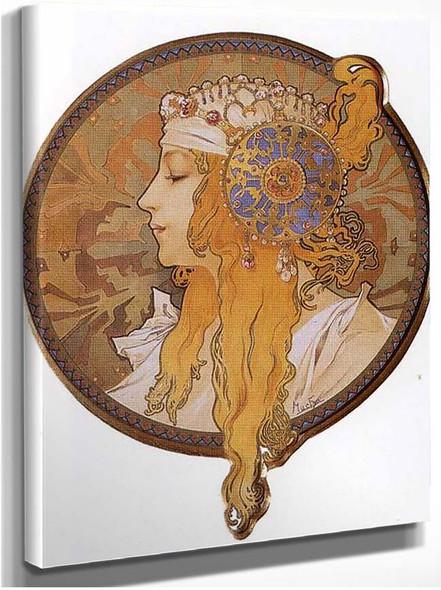 Byzantine Head The Blonde 1897 By Alphonse Mucha