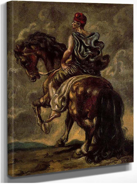 Cavalryman With A Red Hat And A Blue Cloak By Giorgio De Chirico