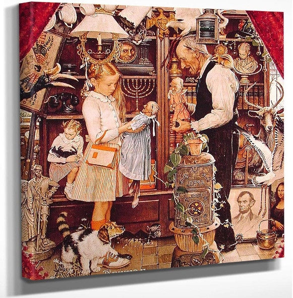 April Fool Girl With Shopkeeper 1948 By Norman Rockwell Art Reproduction from Wanford.