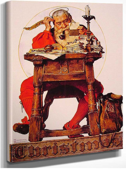 Christmas Santa Reading Mail 1935 By Norman Rockwell