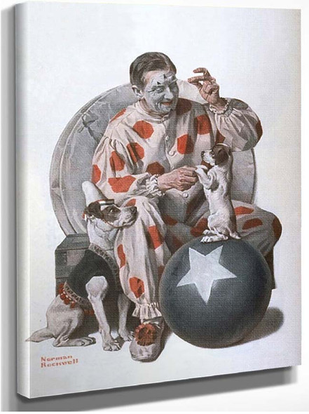 Clown Training Dogs By Norman Rockwell