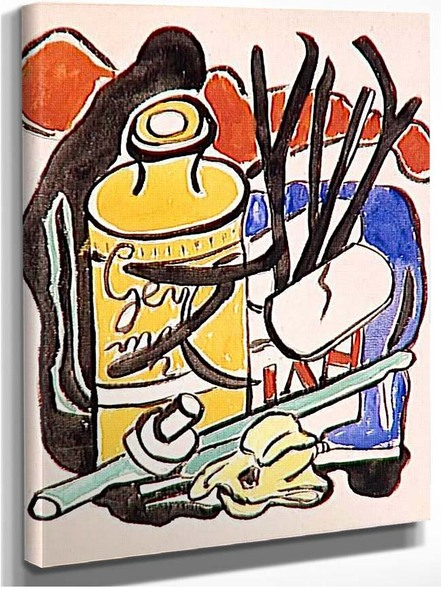 Composition In Yellow Bottle By Fernand Leger