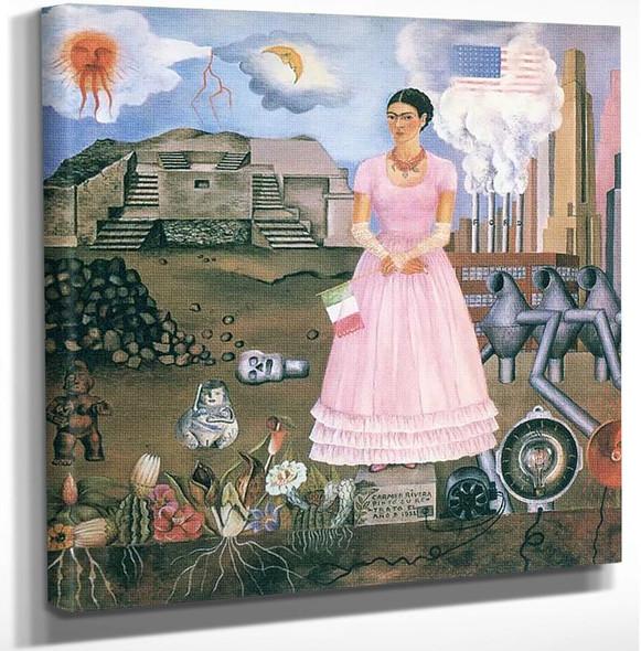Autoretrato En La Frontera Entre Mexico Y Los Estados by Frida Kahlo Art Reproduction from Wanford.