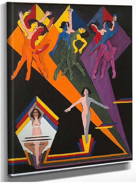 Dancing Girls In Colourful Rays 1937 By Ernst Ludwig Kirchner