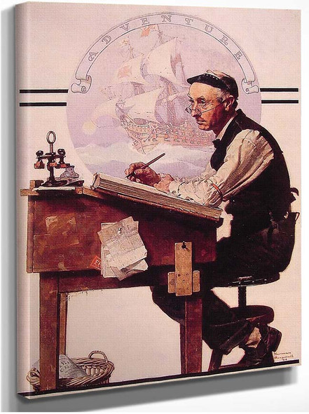 Daydreaming Bookeeper Adventure 1924 By Norman Rockwell