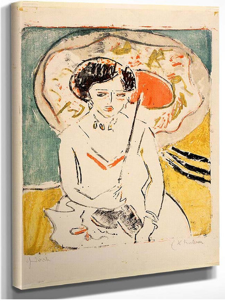 Dodo With A Japanese Umbrella By Ernst Ludwig Kirchner