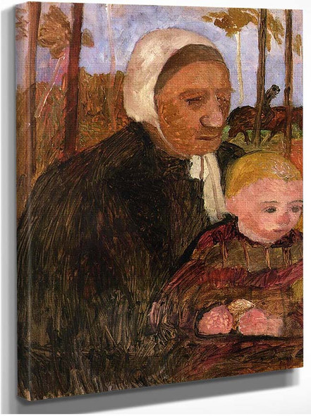 Farmwoman With Child Rider In The Background By Paula Modersohn Becker