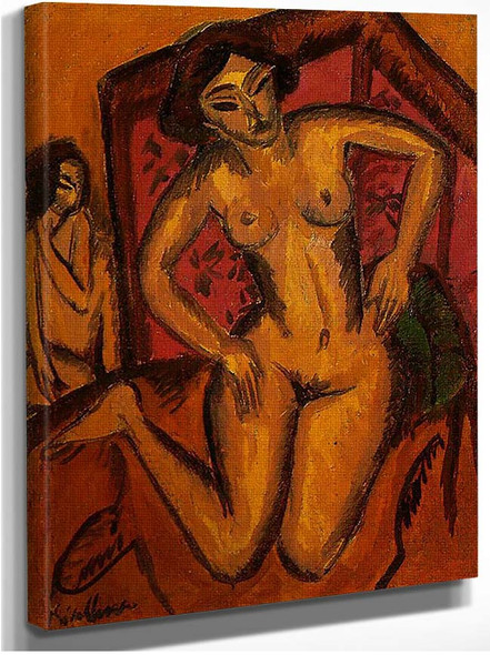 Female Nude Kneeling Before A Red Screen By Ernst Ludwig Kirchner