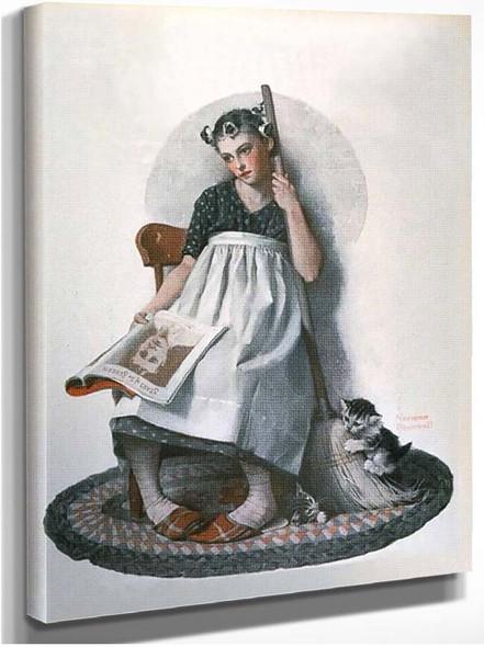 Girl Broom Kitten By Norman Rockwell