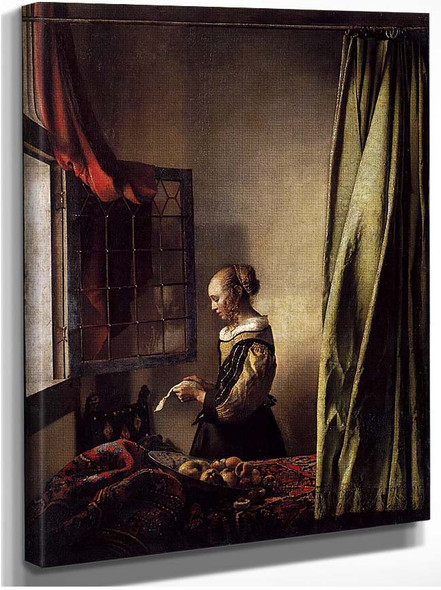 Girl Reading A Letter At An Open Window By Vermeer Johannes