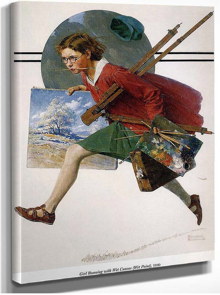 Girl Running With Wet Canvas By Norman Rockwell