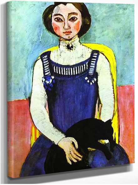 Girl With A Black Cat By Henri Matisse