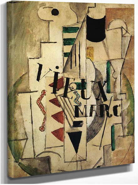 Guitar Glass And Bottle Of Vieux Marc 1912 By Pablo Picasso