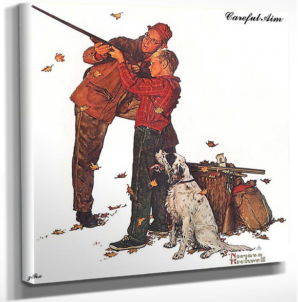 Careful Aim By Norman Rockwell Art Reproduction from Wanford.