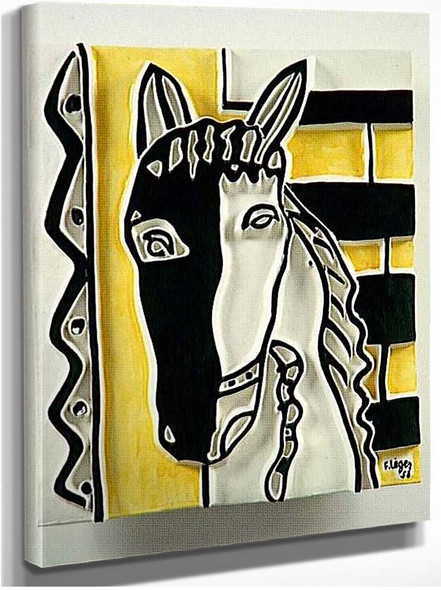 Horse Head On A Yellow Background 1953 By Fernand Leger