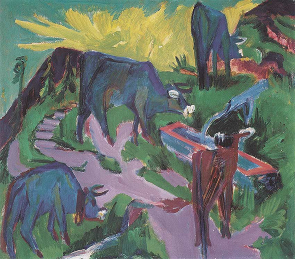 Cows At Sunset 1919 By Ernst Ludwig Kirchner Art Reproduction from Wanford.