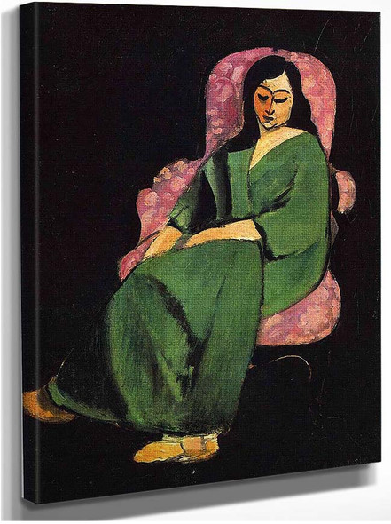 Lorette In A Green Robe Against A Black Background 1916 By Henri Matisse