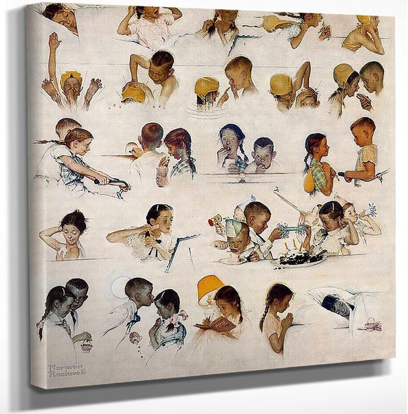 Day In The Life Of A Little Girl By Norman Rockwell Art Reproduction from Wanford.
