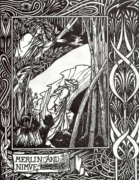 Merlin And Nimue 1894 By Aubrey Beardsley Art Reproduction from Wanford