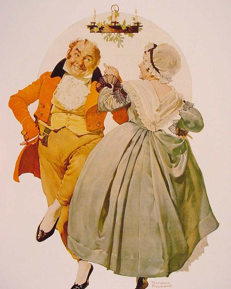 Merrie Christmas Couple Dancing Under The Mistletoe By Norman Rockwell Art Reproduction from Wanford