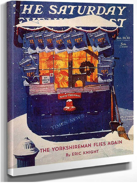 News Kiosk In The Snow By Norman Rockwell