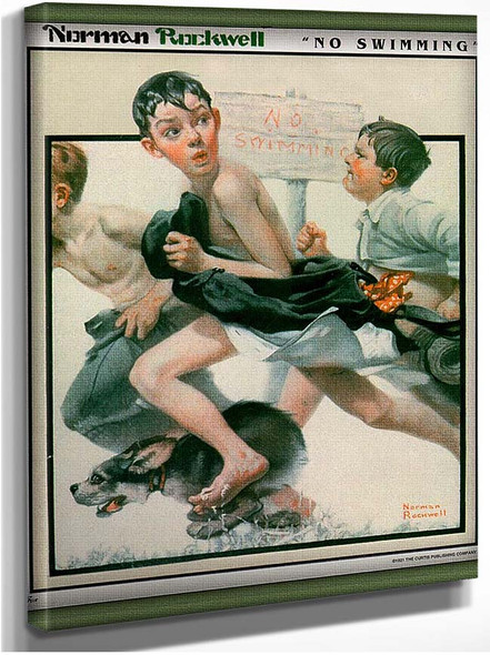 No Swimming By Norman Rockwell