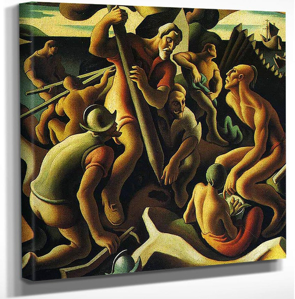 First Chapter The American Historical Epic Palisades By Thomas Hart Benton Art Reproduction from Wanford.