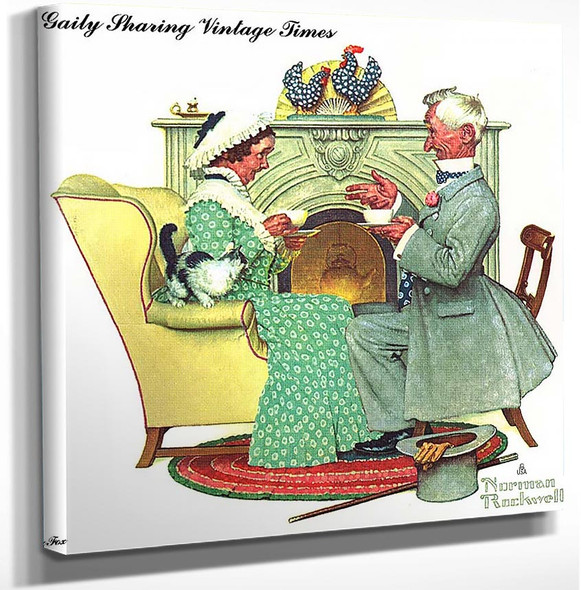 Gaily Sharing Vintage Times By Norman Rockwell Art Reproduction from Wanford.