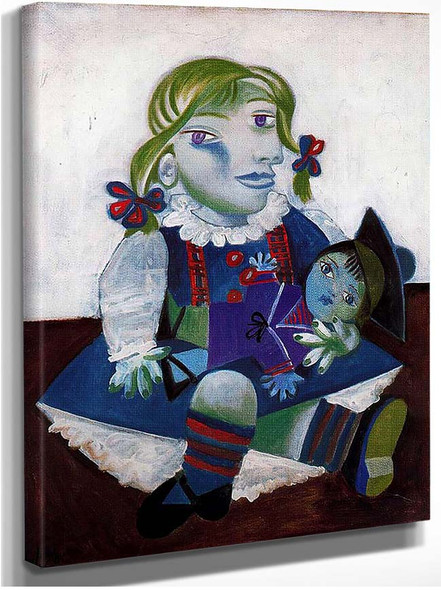 Portrait Of Maya With Her Doll 1938 By Pablo Picasso